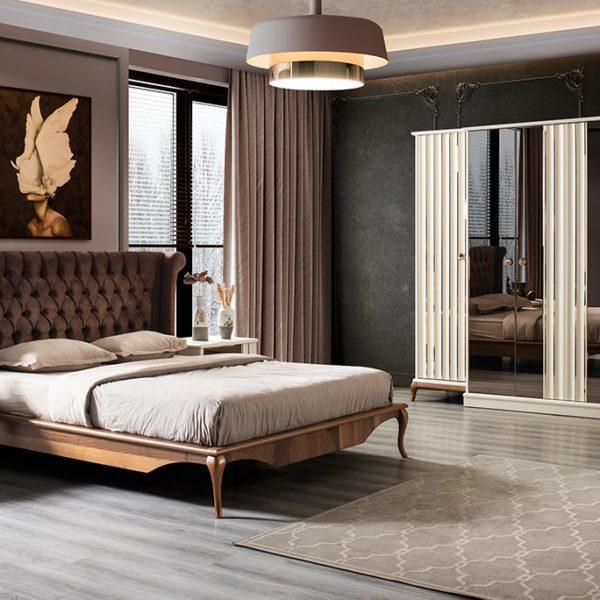 Naturel Krem Ceviz Yatak Odası