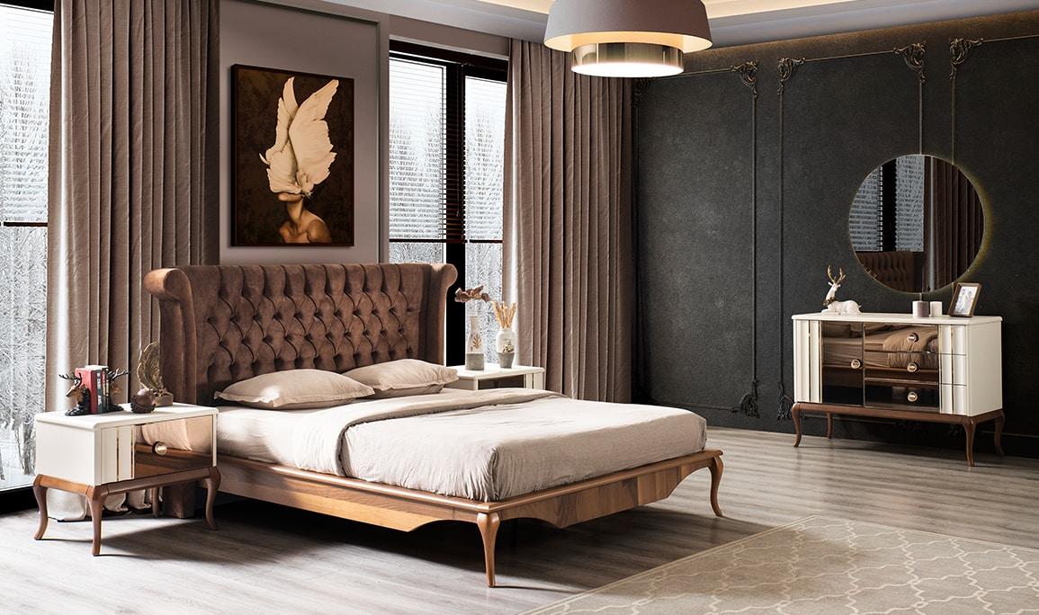 Naturel Krem Ceviz Yatak Odası Takımı