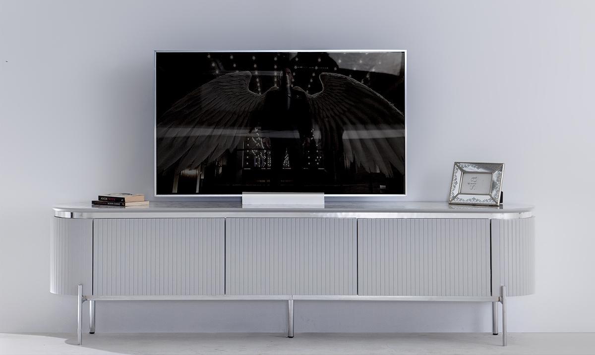 Tesla Tv Ünitesi Gümüş Ön